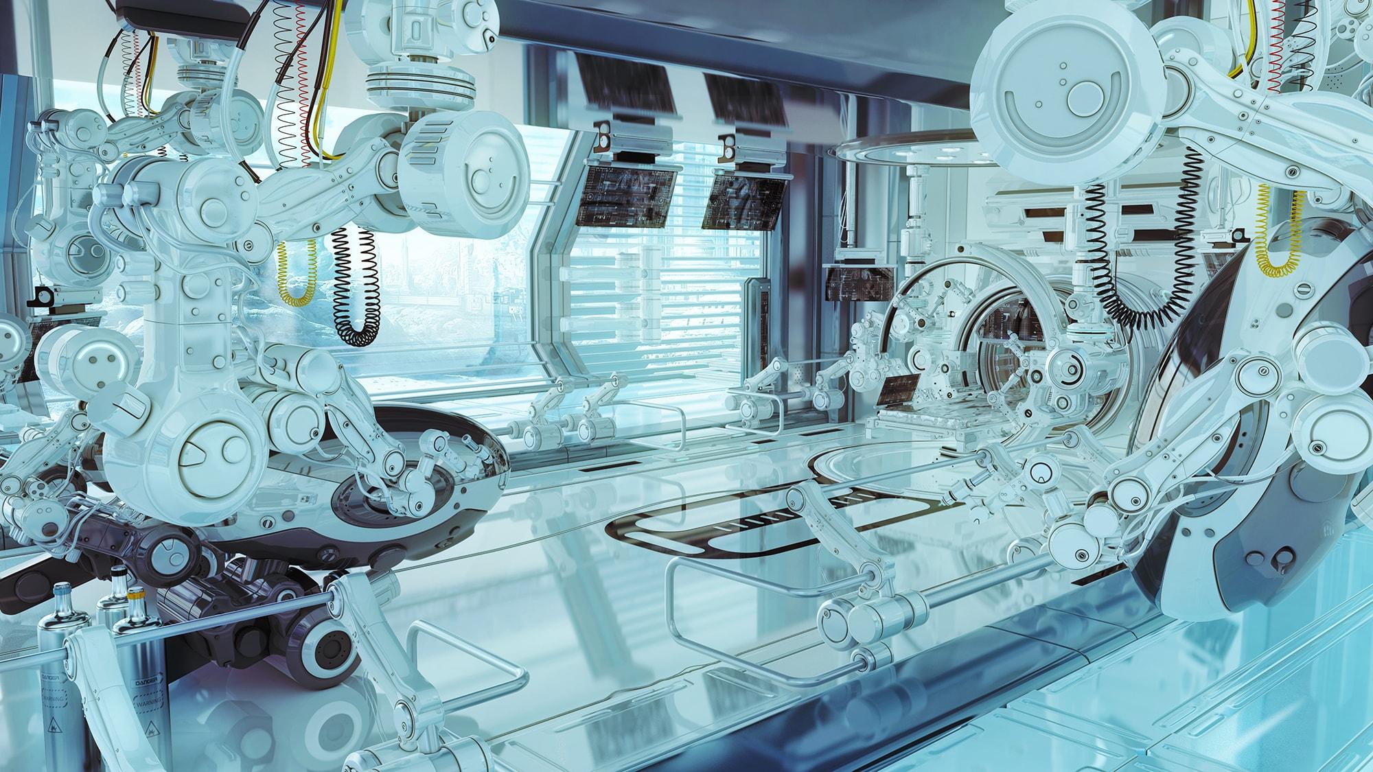 Futuristic lab setting